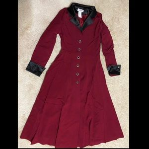 Jackets & Blazers - Burgundy Gothic Trench Coat Size Small